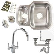 Premium Undermount Stainless Steel Kitchen Sink | Reversible 1.5 Bowl | Dual Lever Pull-Out Kitchen Tap Pack incl. Pipework